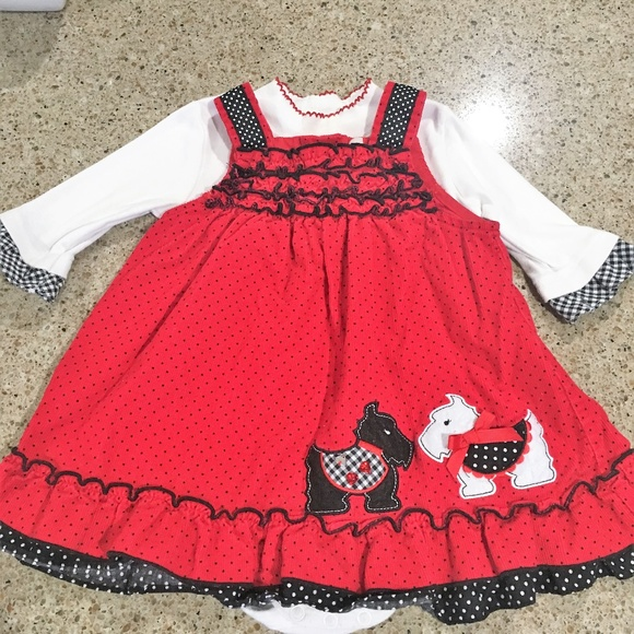 d2cb0086a7 Scottie dog Red Polka Dot Corduroy Dress. M 5be34a202beb79c8b0d3e830